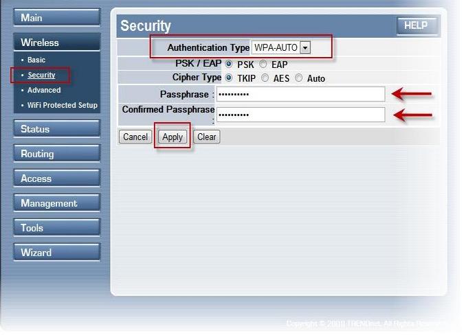 настройка роутера trendnet tew 652brp Wifi безопасность
