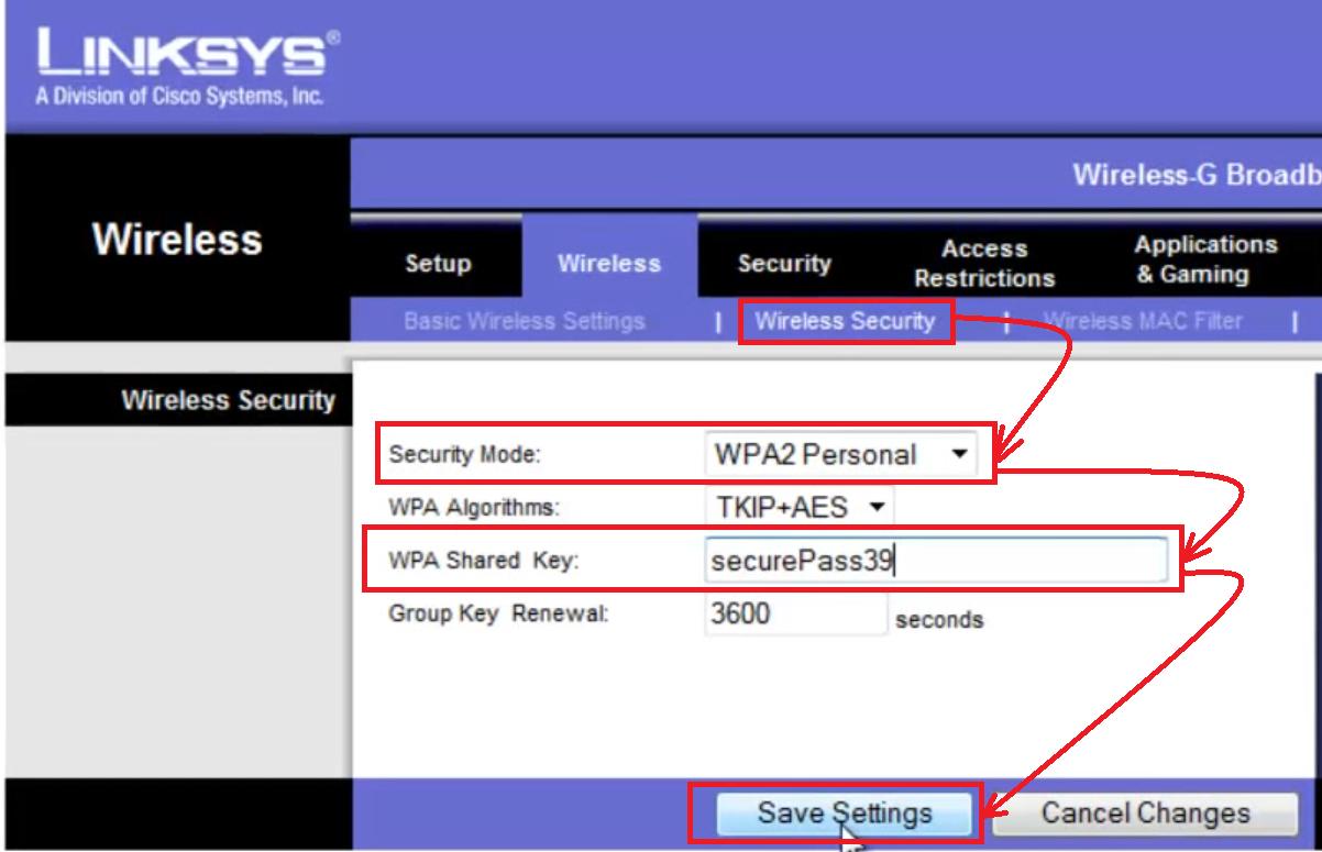 настройка роутера linksys wrt54gl Wifi пароль