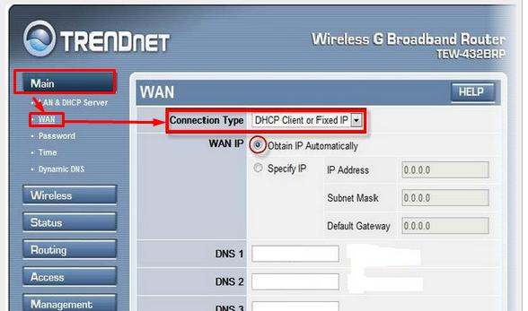 настройка роутера trendnet tew 432 выбор типа подключения