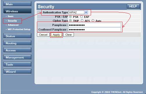 настройка роутера trendnet tew 452brp Wifi1 безопасность