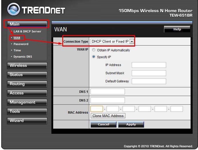 настройка роутера trendnet tew 651br выбор типа подключения