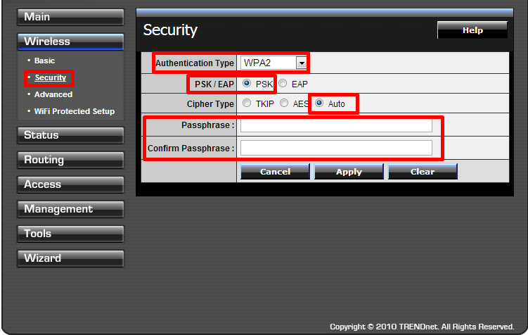 настройка роутера trendnet tew 651brp WiFi пароль
