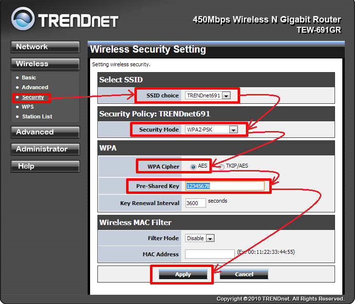 настройка роутера trendnet tew 691 WIFI пароль