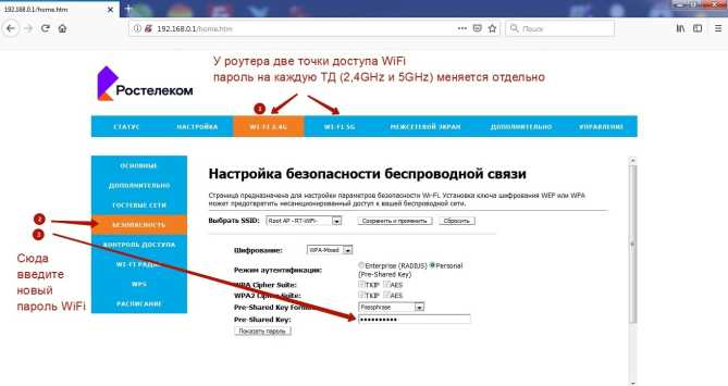 Смена пароль на WiFi в rx-22200